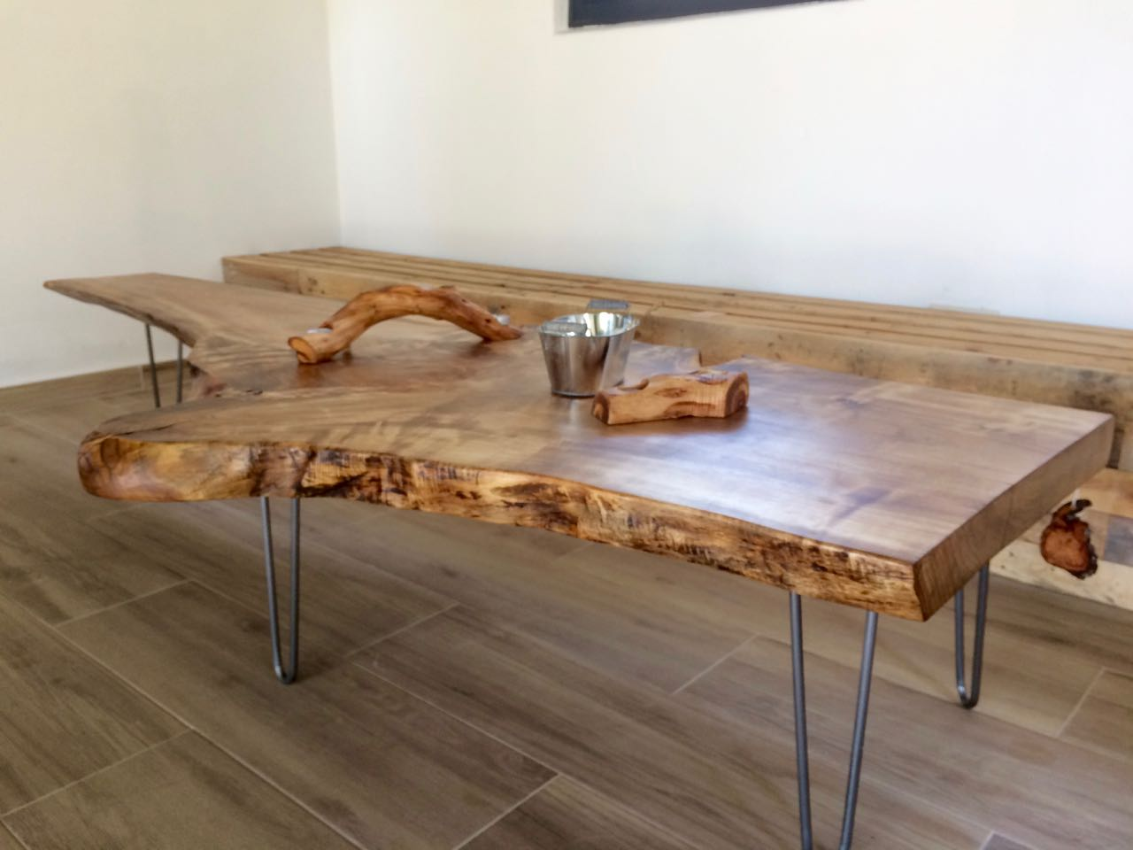 Solid Poplar Coffee Table with Hairpin Legs