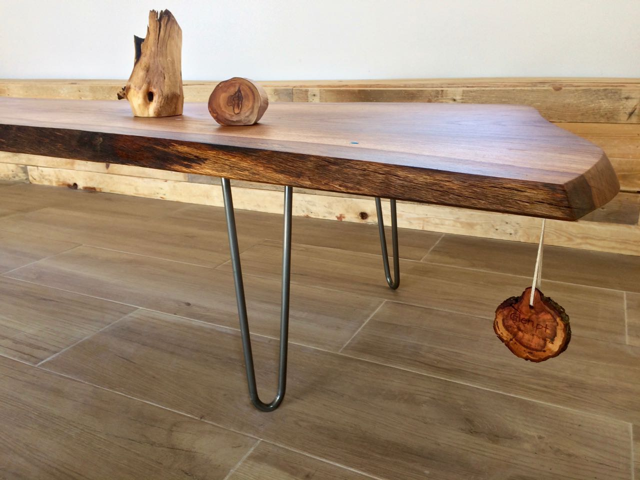 Solid Oak Coffee Table with Hairpin Legs